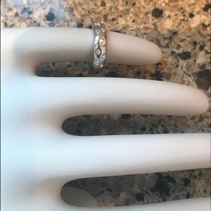 CZ and Silver Wedding Band Ring Size 9